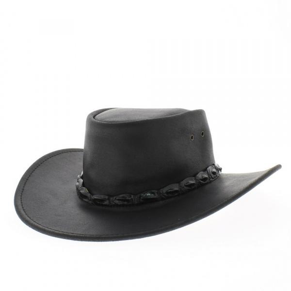 chapeau eureka cuir buffle noir jacaru. Black Bedroom Furniture Sets. Home Design Ideas