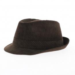 Chapeau trilby velours marron