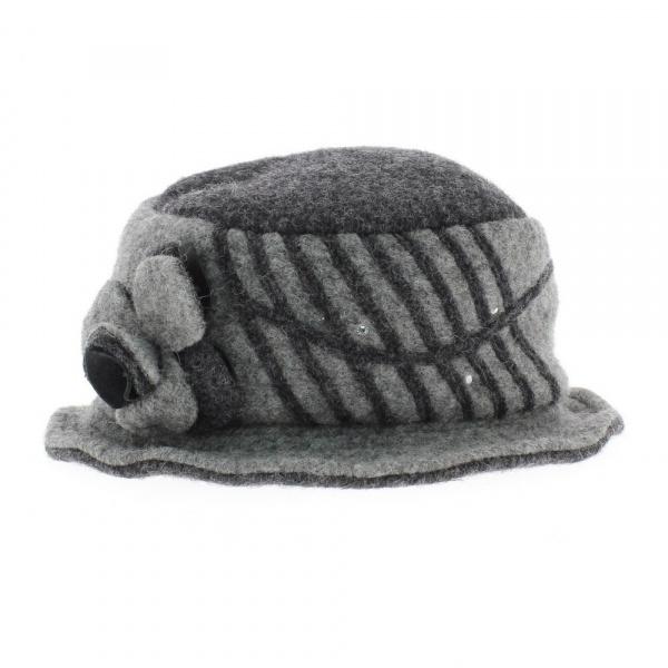 Chapeau laine bouillie fleur