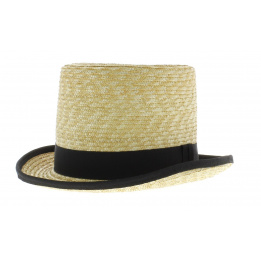 Chapeau Haut de Forme en paille Ruban noir