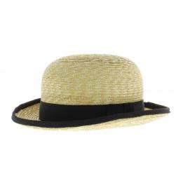 chapeau melon en paille ruban noir