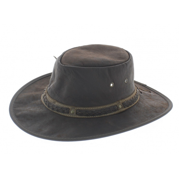 Chapeau cuir kangourou squashy marron