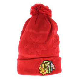 Bonnet long à pompon Chicago Blackhawks