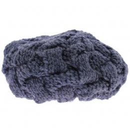 Beret tricot gris bleu