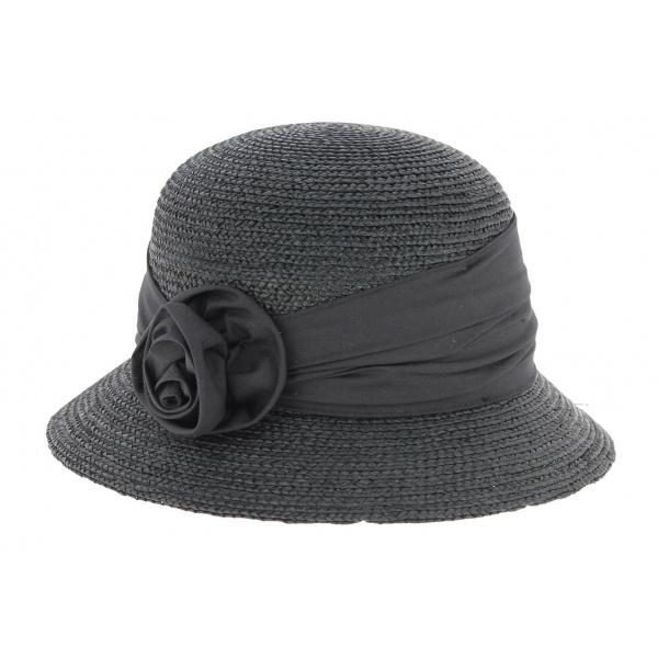 Chapeau cloche paille noir