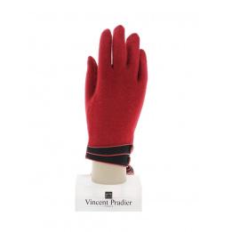 Gants Femme Laine & Nylon Rouge - Vincent Pradier