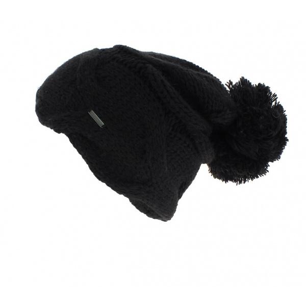 bonnet pompom noir wegener boutique traclet. Black Bedroom Furniture Sets. Home Design Ideas