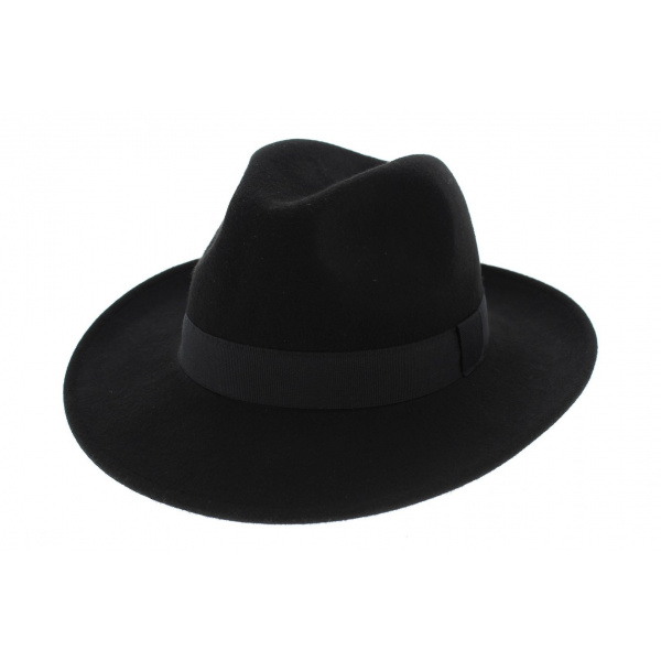 chapeau fedora feutre laine noir imperm able traclet. Black Bedroom Furniture Sets. Home Design Ideas