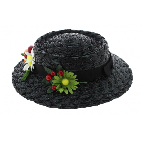 Chapeau Mary Poppins Paille Synthétique Noir - Traclet