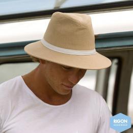 Chapeau Traveller Wide Brim Beige Lin - Rigon Headwear
