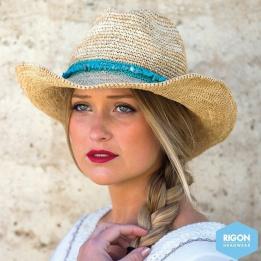 Chapeau Cowboy Castaway Raffia Naturel/Turquoise - Rigon Headwear