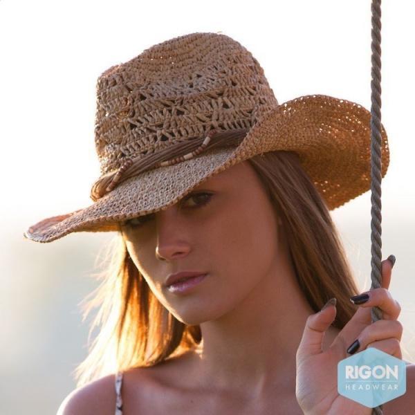 Chapeau de cowboy marjo paille raffia rigon headwear - Deco chapeau de paille ...