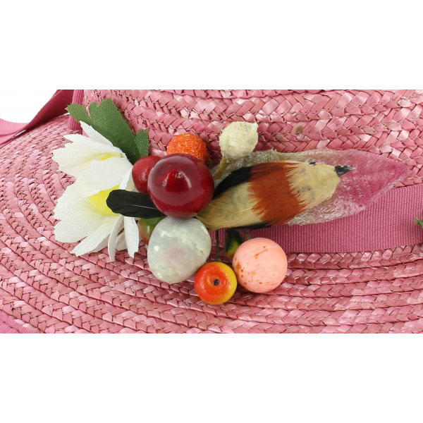 Chapeau Mary Poppins Paille Rose - Traclet