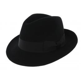 Chapeau Fédora Costello Feutre Laine Noir - Traclet