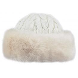 Bonnet-Toque Cable Fausse Fourrure Blanc - Barts