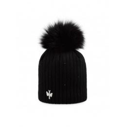 Bonnet à pompon MINI MERRY Strass Acrylique - Pipolaki Noir