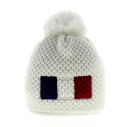 Bonnet Blanc pompon Le Drapo France