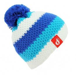 Bonnet Pompon Blanc Lagon Bleu Roi - LeDrapo