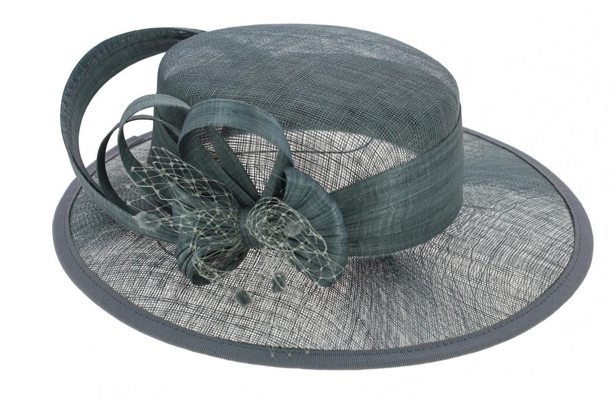 chapeau de c r monie paille bleu marine traclet. Black Bedroom Furniture Sets. Home Design Ideas