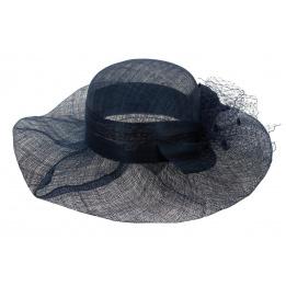 Chapeau Cérémonie Patty Paille Bleu - Traclet
