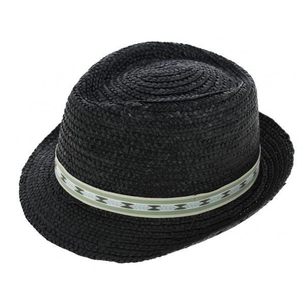 Chapeau de paille denver noir chapeau traclet - Deco chapeau de paille ...