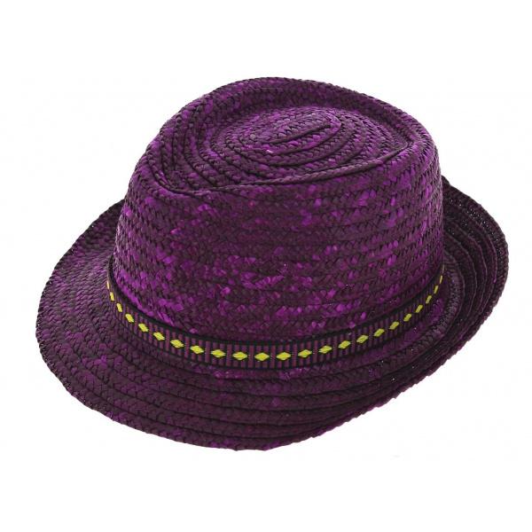 Chapeau Trilby Pachuca Paille Naturelle Violet - Traclet