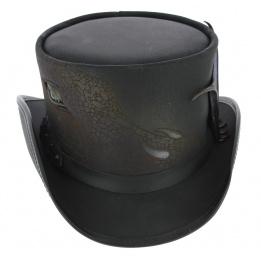 Chapeau Haut de Forme Draco Cuir Noir - Head'n Home