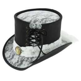 Chapeau Haut de Forme Havisham Cuir Noir - Head'n Home