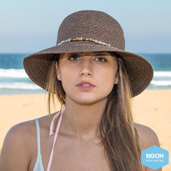 Chapeau Cloche Indie Fibres Naturelles Marron - Rigon Headwear
