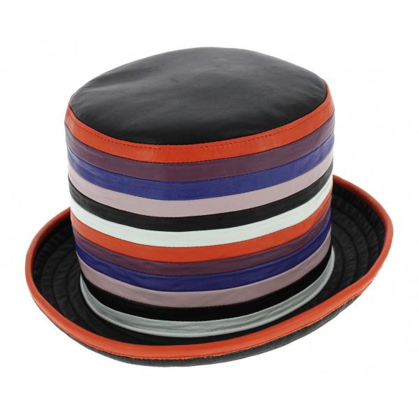 Chapeau Haut de Forme Nappa Cuir Multicolore - Traclet