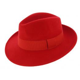 Chapeau Fédora Imperméable Feutre Laine Vanador Rouge - Traclet