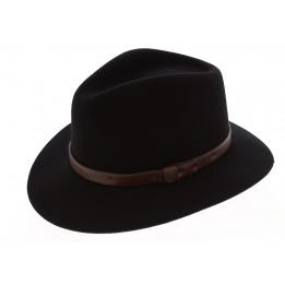 Chapeau Messer Noir Bandeau cuir marron - Brixton