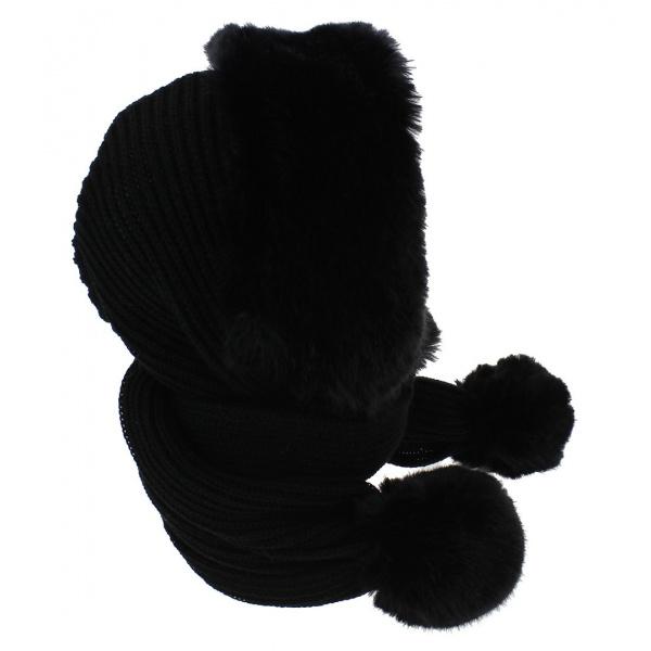 Capuche Masha Acrylique & Fausse Fourrure Noir - Traclet