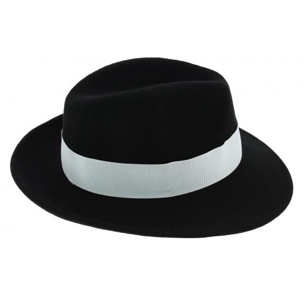 Chapeau Fedora Vanador Feutre Laine Noir Imperméable - Traclet