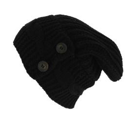 Bonnet Oversize Thorens Laine & Acrylique Noir - Traclet