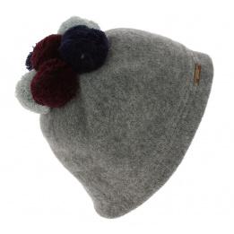 Bonnet Pompons Ladybird Laine Gris - Traclet