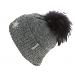 Bonnet Pompon Fourrure Betty Laine Gris - Kristo