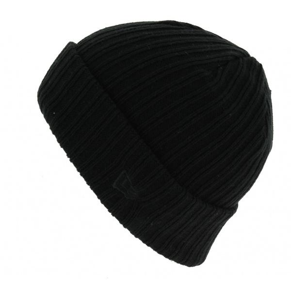 Bonnet Mixte Ribbed Cuff Acrylique Noir - New Era
