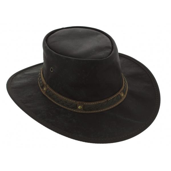 Chapeau cuir kangourou Squashy noir