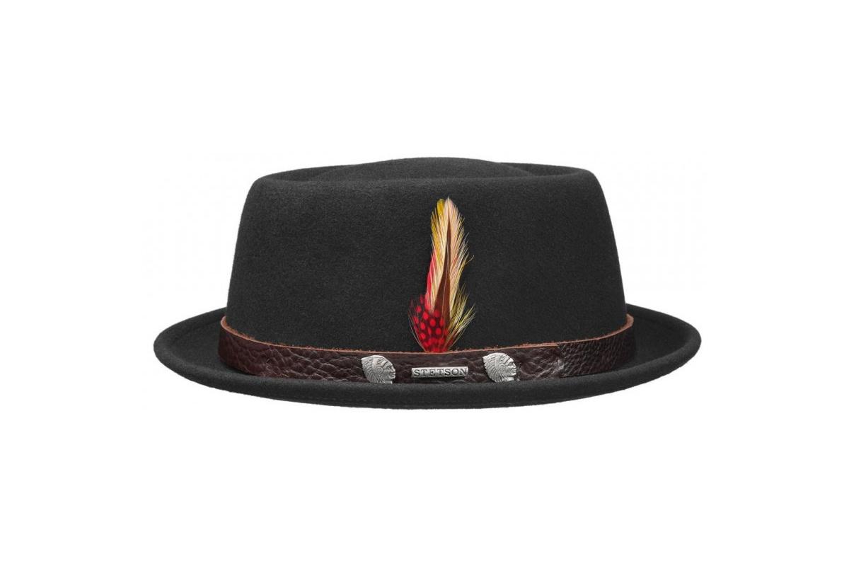chapeau pork pie pawling feutre laine noir stetson. Black Bedroom Furniture Sets. Home Design Ideas