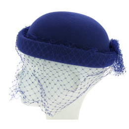 Chapeau voilette bleu roi J. GARNIER PARIS Made in France
