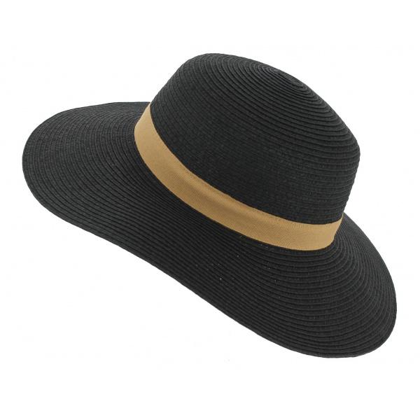 chapeau capeline rhodes paille papier noir traclet. Black Bedroom Furniture Sets. Home Design Ideas